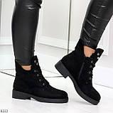 Модельные зимние черные замшевые женские ботинки в заклепках низкий ход  36-23,5см, фото 5