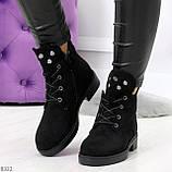 Модельные зимние черные замшевые женские ботинки в заклепках низкий ход  36-23,5см, фото 7