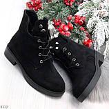 Модельные зимние черные замшевые женские ботинки в заклепках низкий ход  36-23,5см, фото 9