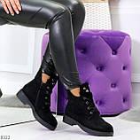 Модельные зимние черные замшевые женские ботинки в заклепках низкий ход  36-23,5см, фото 10