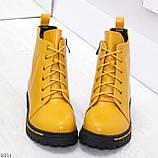 Яркие модельные горчичные желтые женские ботинки шнуровка на низком ходу, фото 2