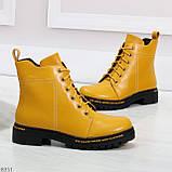Яркие модельные горчичные желтые женские ботинки шнуровка на низком ходу, фото 3