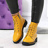 Яркие модельные горчичные желтые женские ботинки шнуровка на низком ходу, фото 5