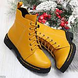 Яркие модельные горчичные желтые женские ботинки шнуровка на низком ходу, фото 7