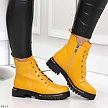 Яркие модельные горчичные желтые женские ботинки шнуровка на низком ходу, фото 8