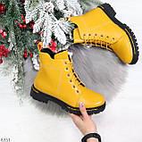 Яркие модельные горчичные желтые женские ботинки шнуровка на низком ходу, фото 9