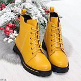 Яркие модельные горчичные желтые женские ботинки шнуровка на низком ходу, фото 10