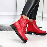 Яркие модельные красные женские ботинки шнуровка на низком ходу, фото 4