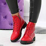 Яркие модельные красные женские ботинки шнуровка на низком ходу, фото 5