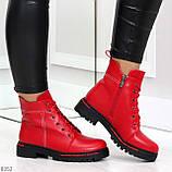 Яркие модельные красные женские ботинки шнуровка на низком ходу, фото 6