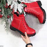 Яркие модельные красные женские ботинки шнуровка на низком ходу, фото 7