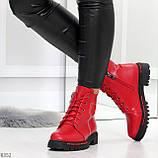 Яркие модельные красные женские ботинки шнуровка на низком ходу, фото 9