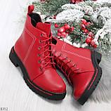 Яркие модельные красные женские ботинки шнуровка на низком ходу, фото 10