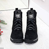 Трендовые повседневные черные женские замшевые ботинки на флисе, фото 2