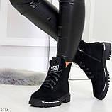 Трендовые повседневные черные женские замшевые ботинки на флисе, фото 3