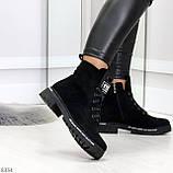 Трендовые повседневные черные женские замшевые ботинки на флисе, фото 4