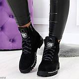 Трендовые повседневные черные женские замшевые ботинки на флисе, фото 6