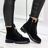 Трендовые повседневные черные женские замшевые ботинки на флисе, фото 7