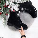 Трендовые повседневные черные женские замшевые ботинки на флисе, фото 8