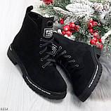 Трендовые повседневные черные женские замшевые ботинки на флисе, фото 10