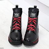 Трендовые повседневные черные женские ботинки на красной шнуровке, фото 4