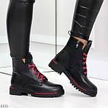 Трендовые повседневные черные женские ботинки на красной шнуровке, фото 6