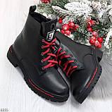 Трендовые повседневные черные женские ботинки на красной шнуровке, фото 9