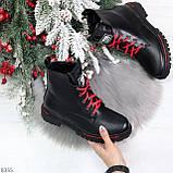 Трендовые повседневные черные женские ботинки на красной шнуровке, фото 10
