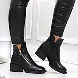 Удобные черные женские зимние ботинки из натуральной кожи на молнии, фото 2
