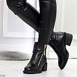 Удобные черные женские зимние ботинки из натуральной кожи на молнии, фото 5