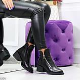 Удобные черные женские зимние ботинки из натуральной кожи на молнии, фото 7