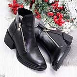 Удобные черные женские зимние ботинки из натуральной кожи на молнии, фото 9