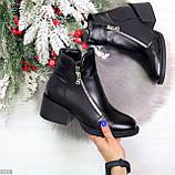 Удобные черные женские зимние ботинки из натуральной кожи на молнии, фото 10