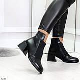 Шикарные черные демисезонные женские ботинки ботильоны на резинке, фото 4