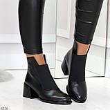 Шикарные черные демисезонные женские ботинки ботильоны на резинке, фото 6