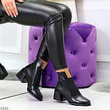 Шикарные черные демисезонные женские ботинки ботильоны на резинке, фото 7