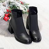 Шикарные черные демисезонные женские ботинки ботильоны на резинке, фото 8