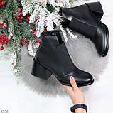 Шикарные черные демисезонные женские ботинки ботильоны на резинке, фото 10