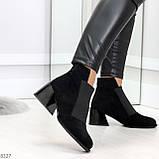 Шикарные черные замшевые женские ботинки ботильоны на резинке, фото 2