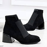 Шикарные черные замшевые женские ботинки ботильоны на резинке, фото 3