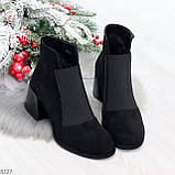 Шикарные черные замшевые женские ботинки ботильоны на резинке, фото 6