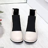 Шикарные светлые бежевые женские ботинки ботильоны на резинке, фото 3