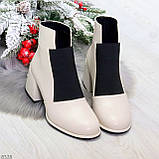 Шикарные светлые бежевые женские ботинки ботильоны на резинке, фото 7