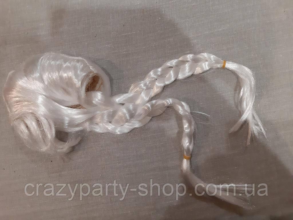 Парик карнавальный Снегурочка две косички белые