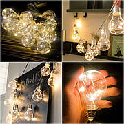 Светодиодная гирлянда лампочка лампочки Эдисона из 10 лампочек ретро теплая белая лед led новогодние