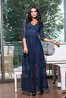 Красивое вечернее женское платье в пол полупросветное рукав ниже локтя ткань дедерон
