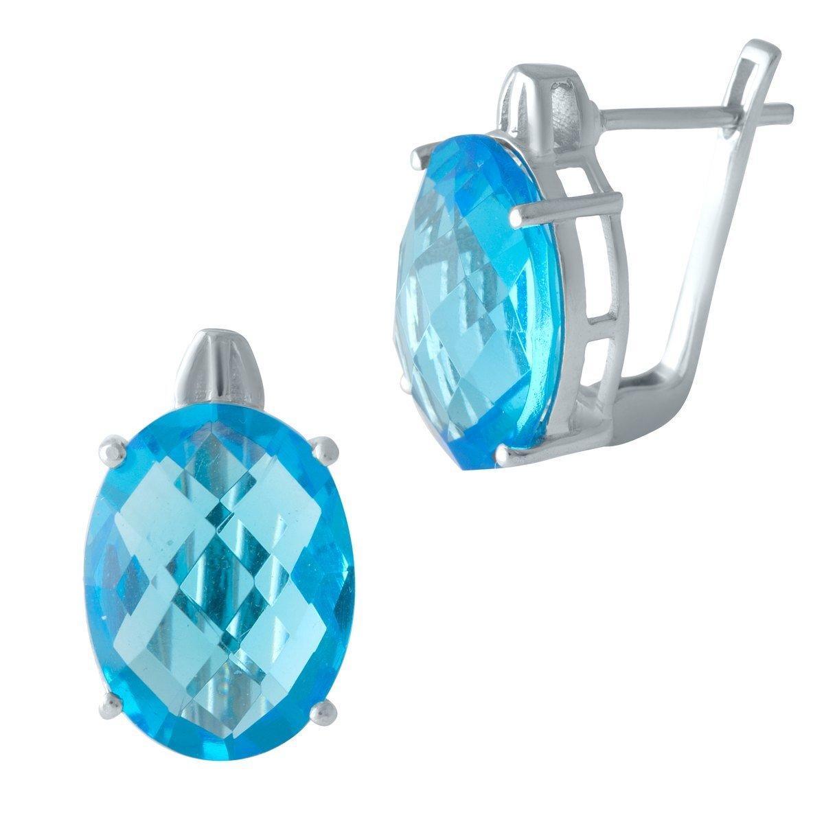 Срібні сережки DreamJewelry з аквамарином nano (1997437)