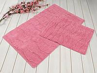 Набор ковриков для ванной хлопок 60х100+45х60  JASMINE розовый