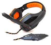 Гарнитура для компьютера полноразмерные Gemix W-330 Pro Black / Orange (закрытые, проводные 3.5 mm mini-jack,