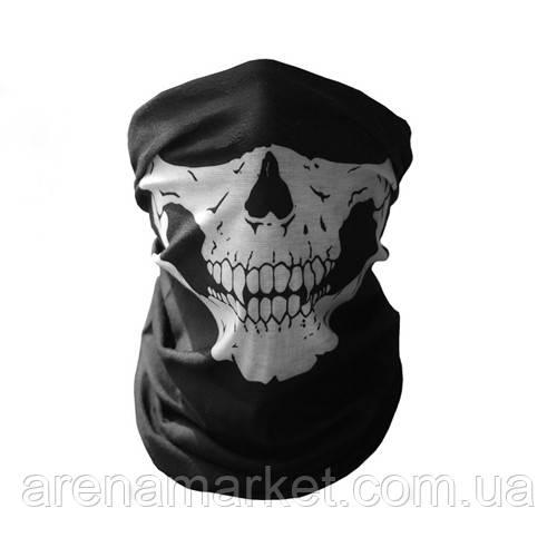 Бафф-маска с рисунком черепа - белый